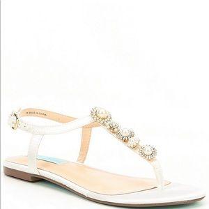 Betsey Johnson Laur Ivory Satin Leather Sandal